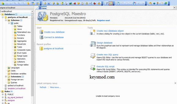 PostgreSQL Maestro Key